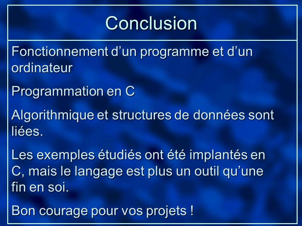 Conclusion Fonctionnement d'un programme et d'un ordinateur
