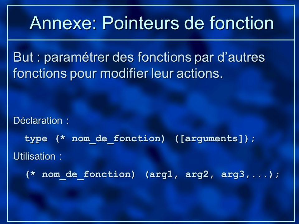 Annexe: Pointeurs de fonction