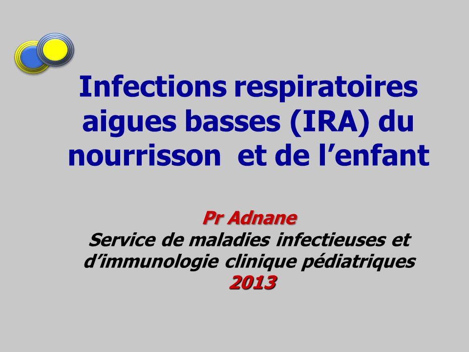 Infections respiratoires aigues basses (IRA) du nourrisson et de l'enfant Pr Adnane Service de maladies infectieuses et d'immunologie clinique pédiatriques 2013