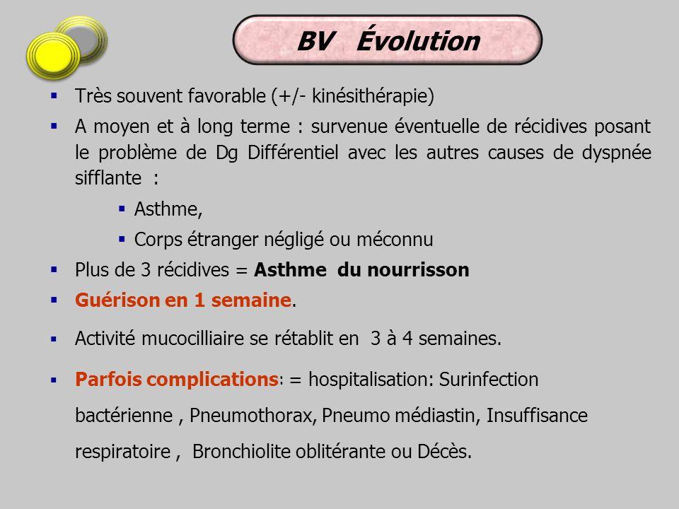 BV Évolution Très souvent favorable (+/- kinésithérapie)
