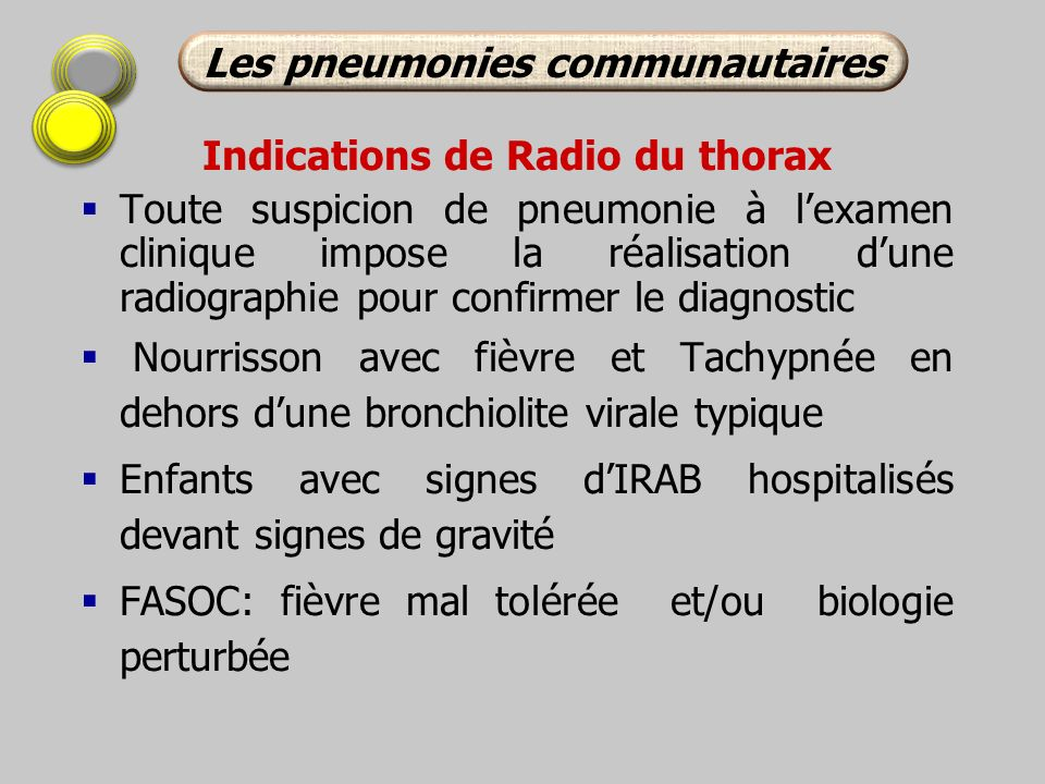 Les pneumonies communautaires Indications de Radio du thorax