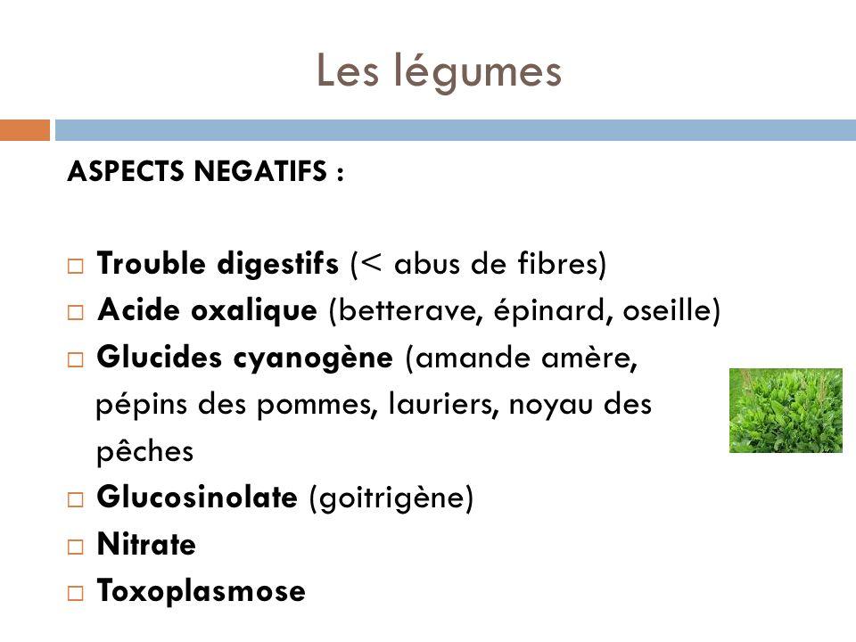 Les légumes Trouble digestifs (< abus de fibres)