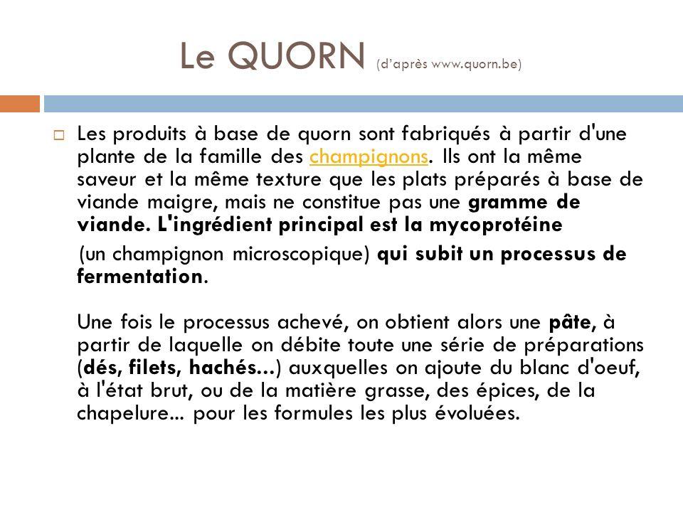 Le QUORN (d'après www.quorn.be)