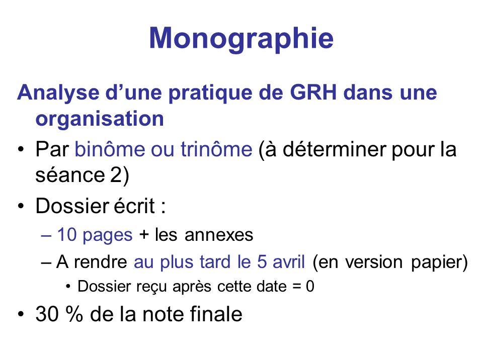 Monographie Analyse d'une pratique de GRH dans une organisation