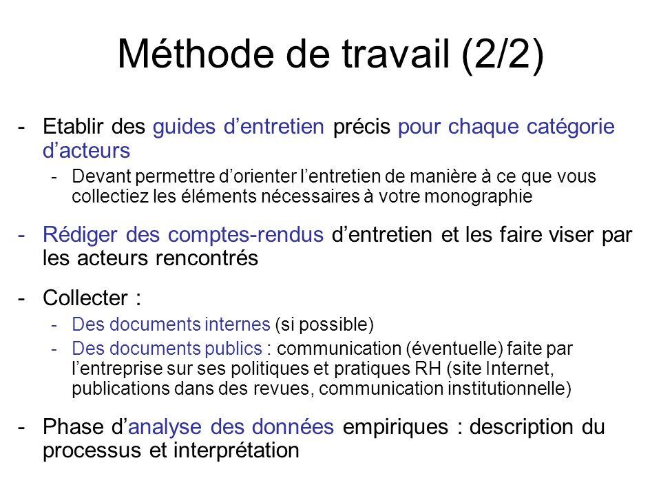 Méthode de travail (2/2) Etablir des guides d'entretien précis pour chaque catégorie d'acteurs.