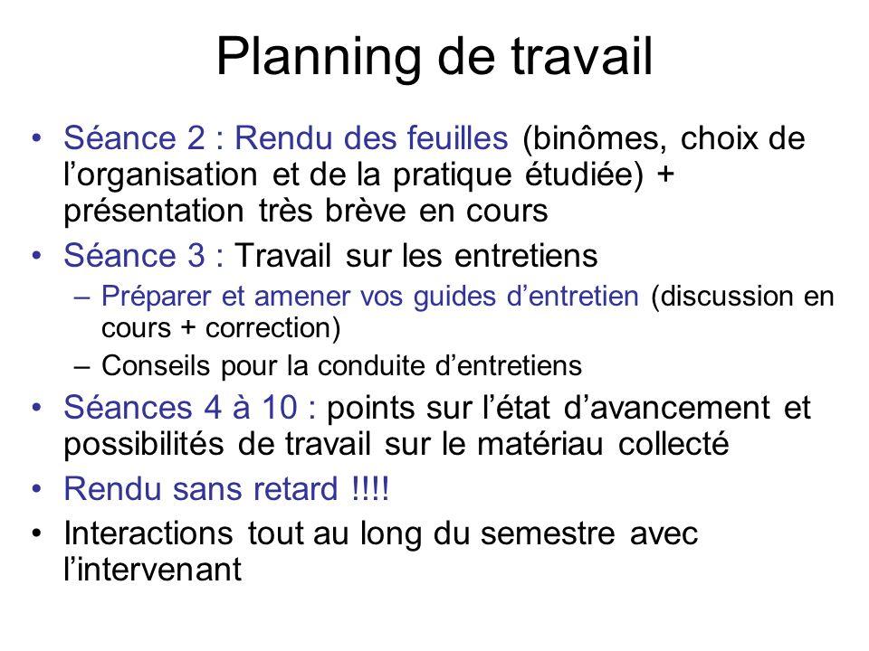 Planning de travail Séance 2 : Rendu des feuilles (binômes, choix de l'organisation et de la pratique étudiée) + présentation très brève en cours.