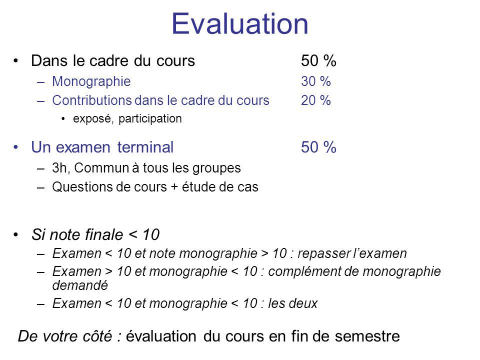 Evaluation Dans le cadre du cours 50 % Un examen terminal 50 %