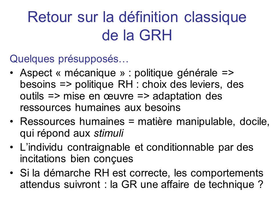 Retour sur la définition classique de la GRH