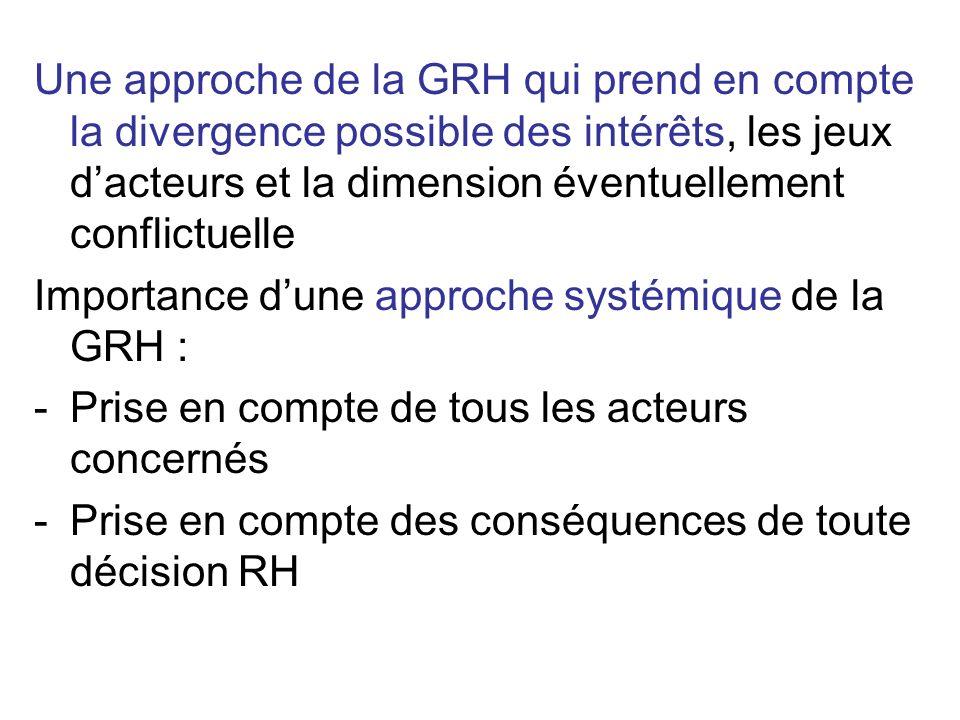 Une approche de la GRH qui prend en compte la divergence possible des intérêts, les jeux d'acteurs et la dimension éventuellement conflictuelle