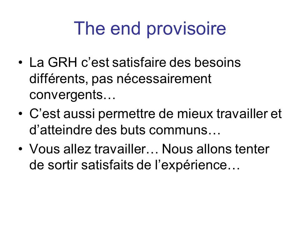 The end provisoire La GRH c'est satisfaire des besoins différents, pas nécessairement convergents…