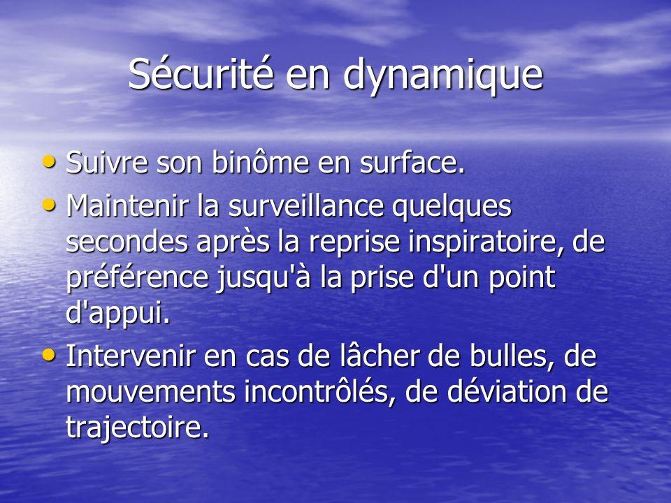 Sécurité en dynamique Suivre son binôme en surface.