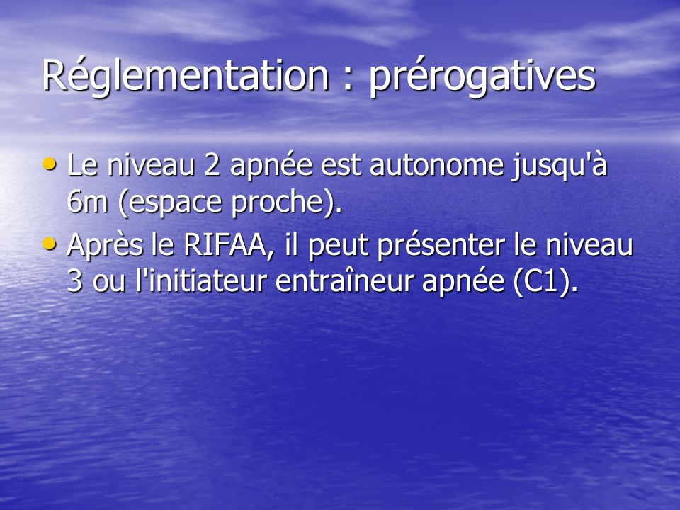 Réglementation : prérogatives