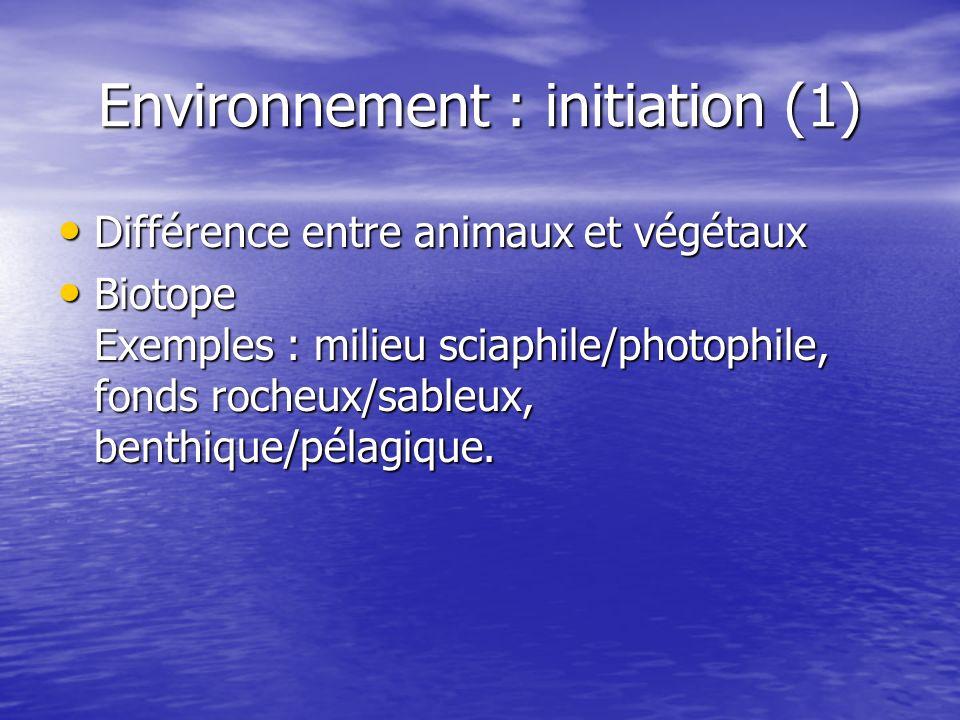 Environnement : initiation (1)