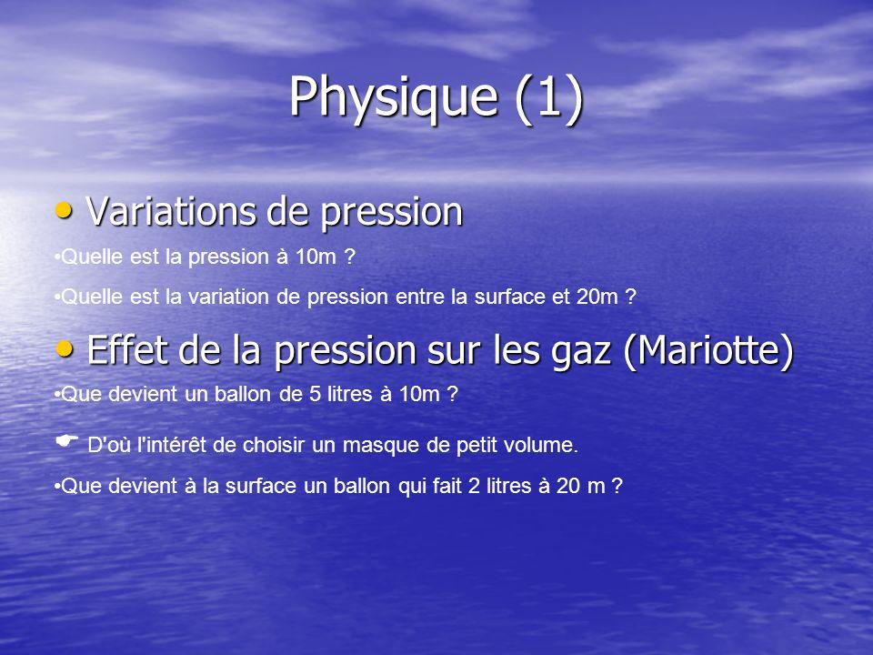 Physique (1) Variations de pression