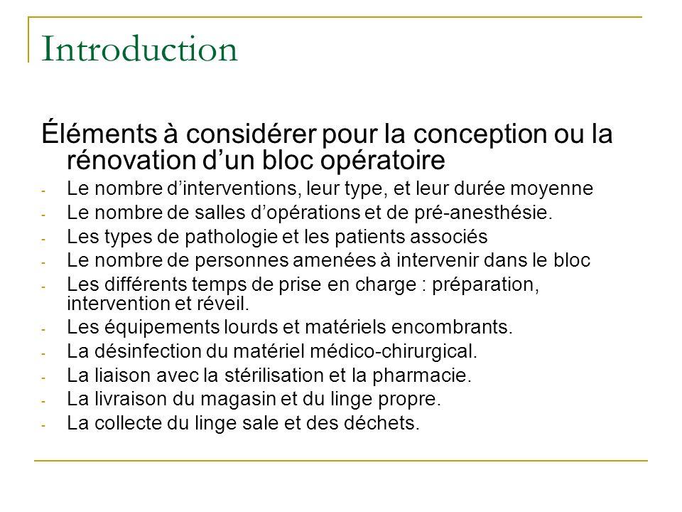Introduction Éléments à considérer pour la conception ou la rénovation d'un bloc opératoire.