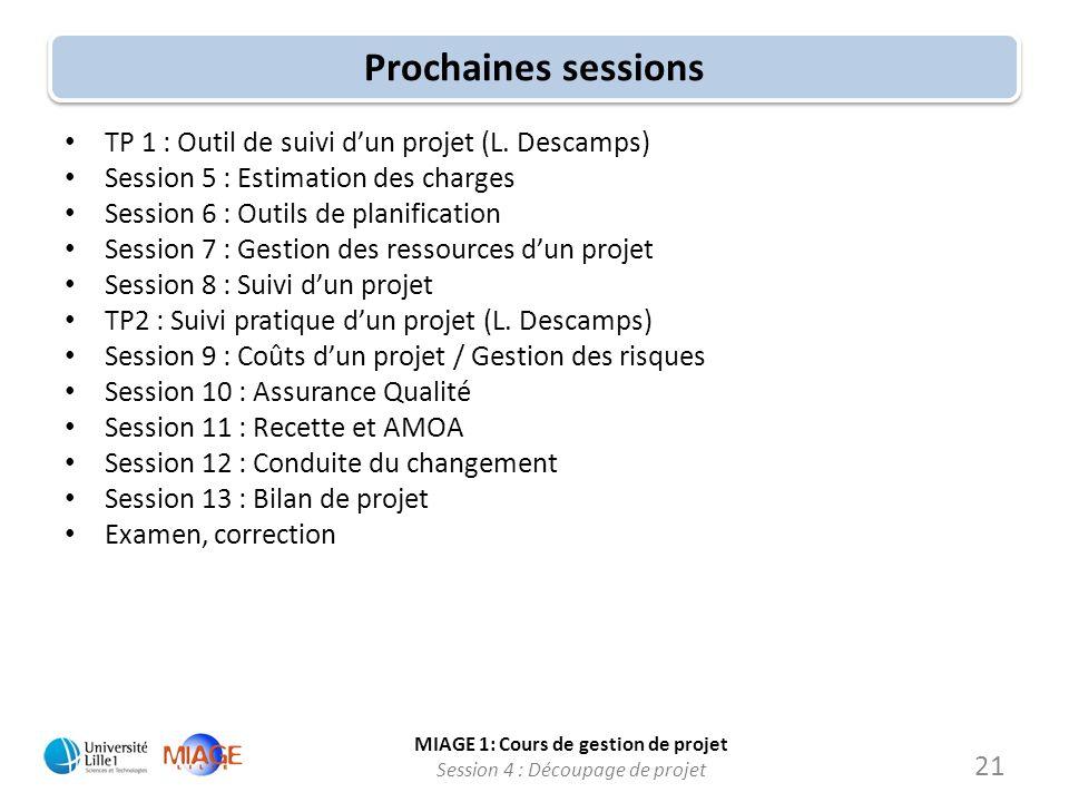 Prochaines sessions TP 1 : Outil de suivi d'un projet (L. Descamps)