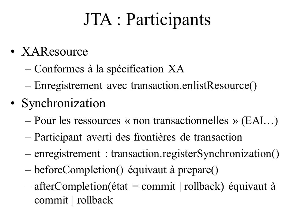 JTA : Participants XAResource Synchronization