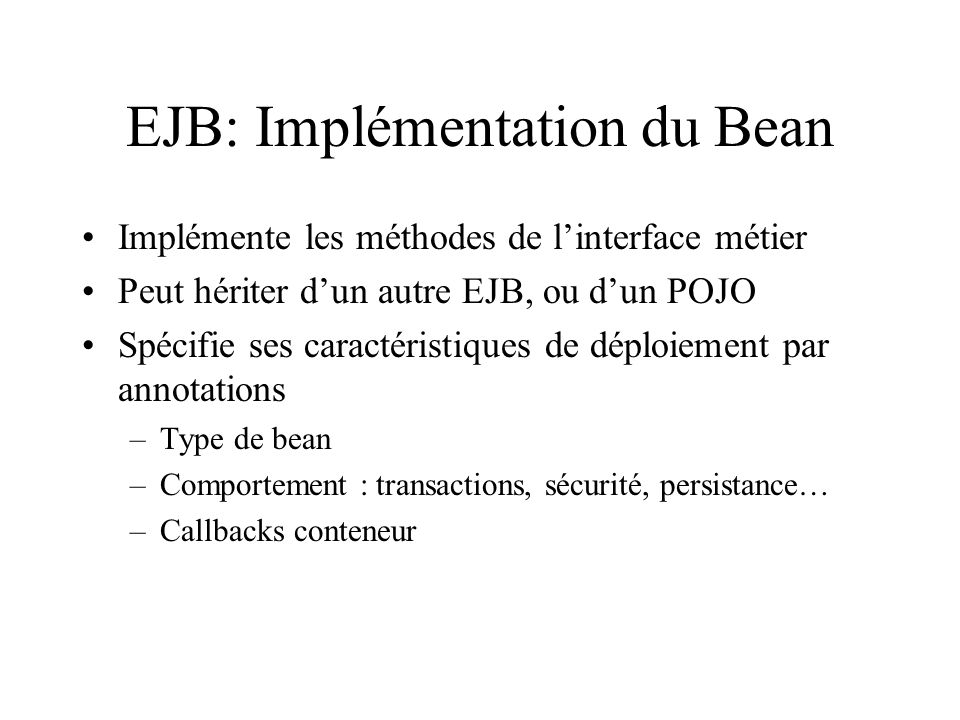 EJB: Implémentation du Bean