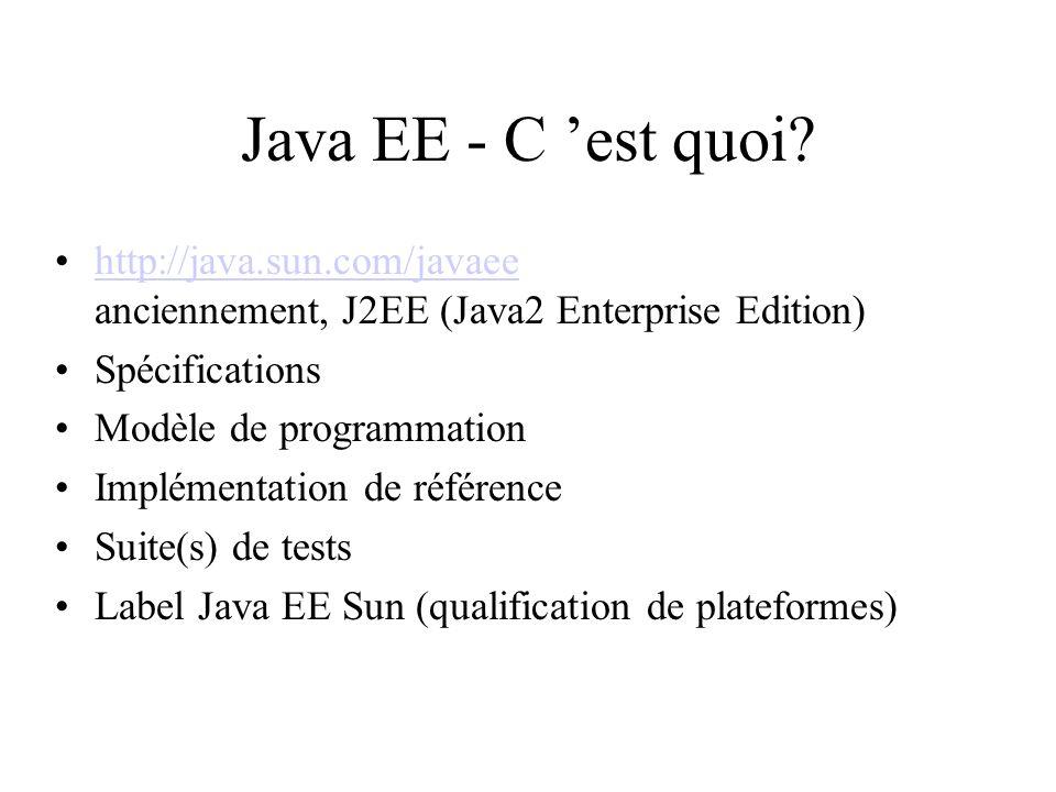 Java EE - C 'est quoi http://java.sun.com/javaee anciennement, J2EE (Java2 Enterprise Edition) Spécifications.