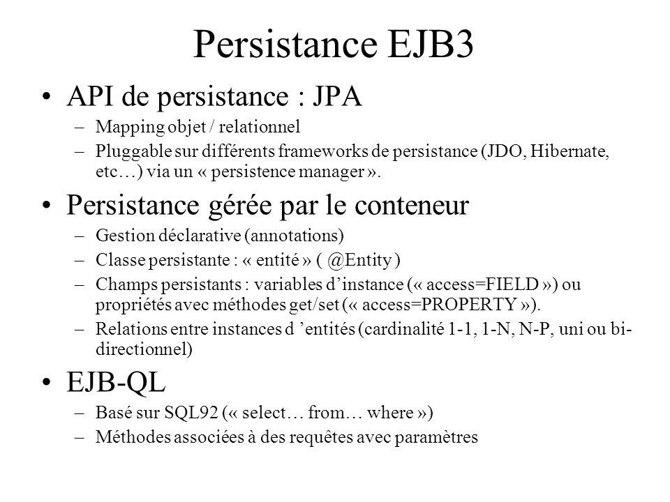 Persistance EJB3 API de persistance : JPA
