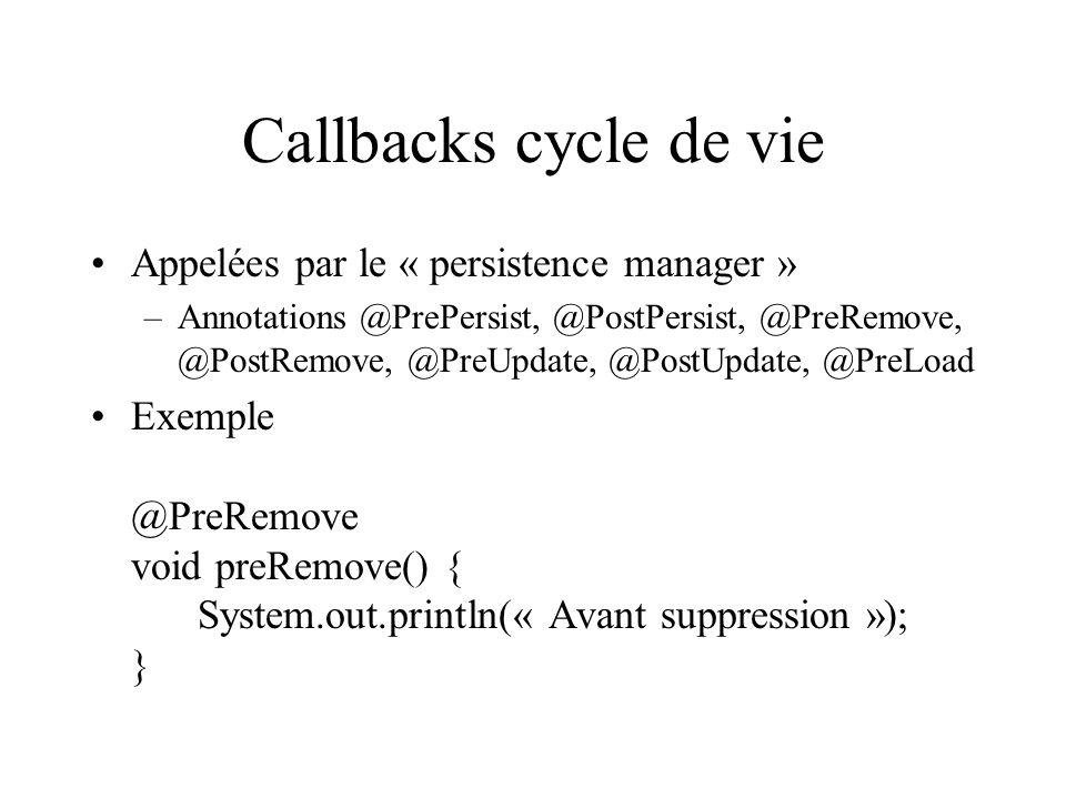 Callbacks cycle de vie Appelées par le « persistence manager »