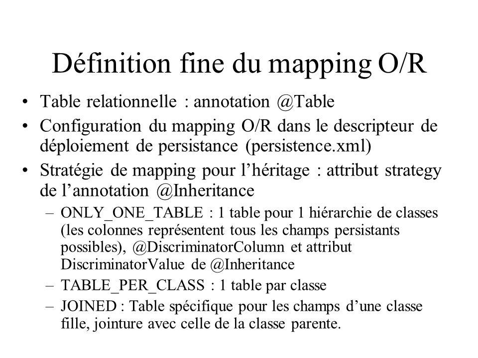 Définition fine du mapping O/R