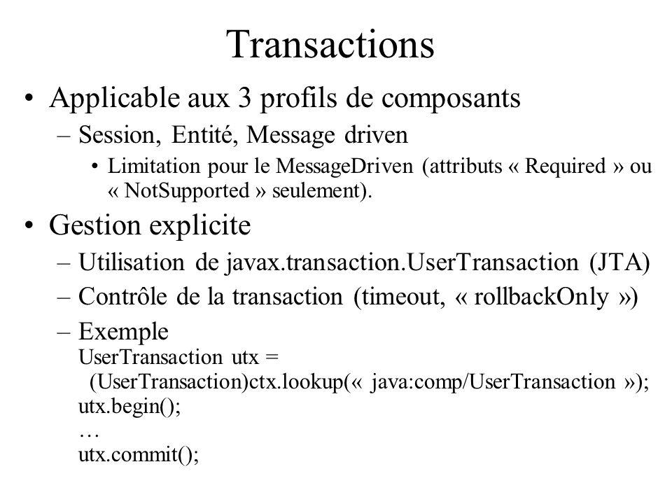 Transactions Applicable aux 3 profils de composants Gestion explicite