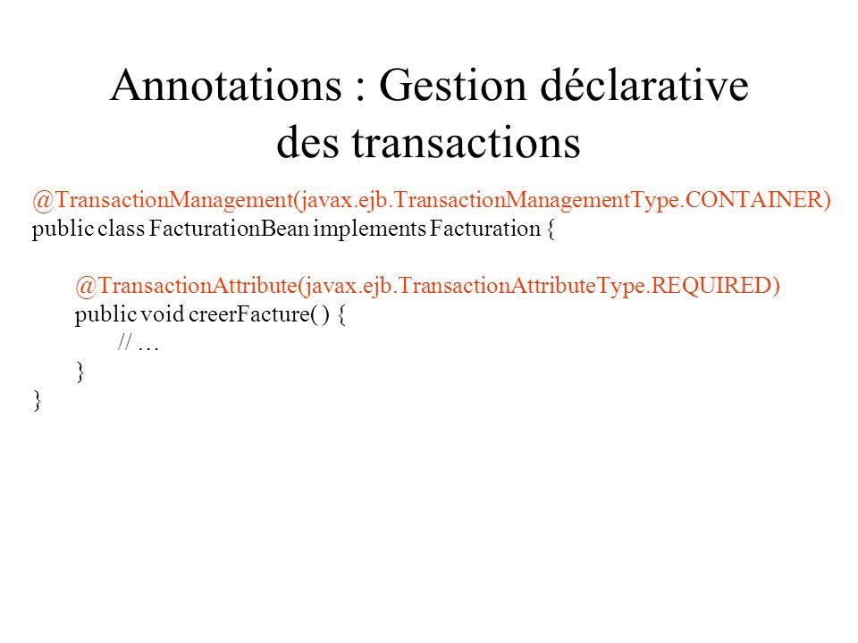 Annotations : Gestion déclarative des transactions