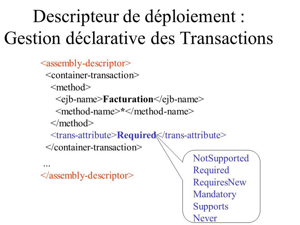 Descripteur de déploiement : Gestion déclarative des Transactions