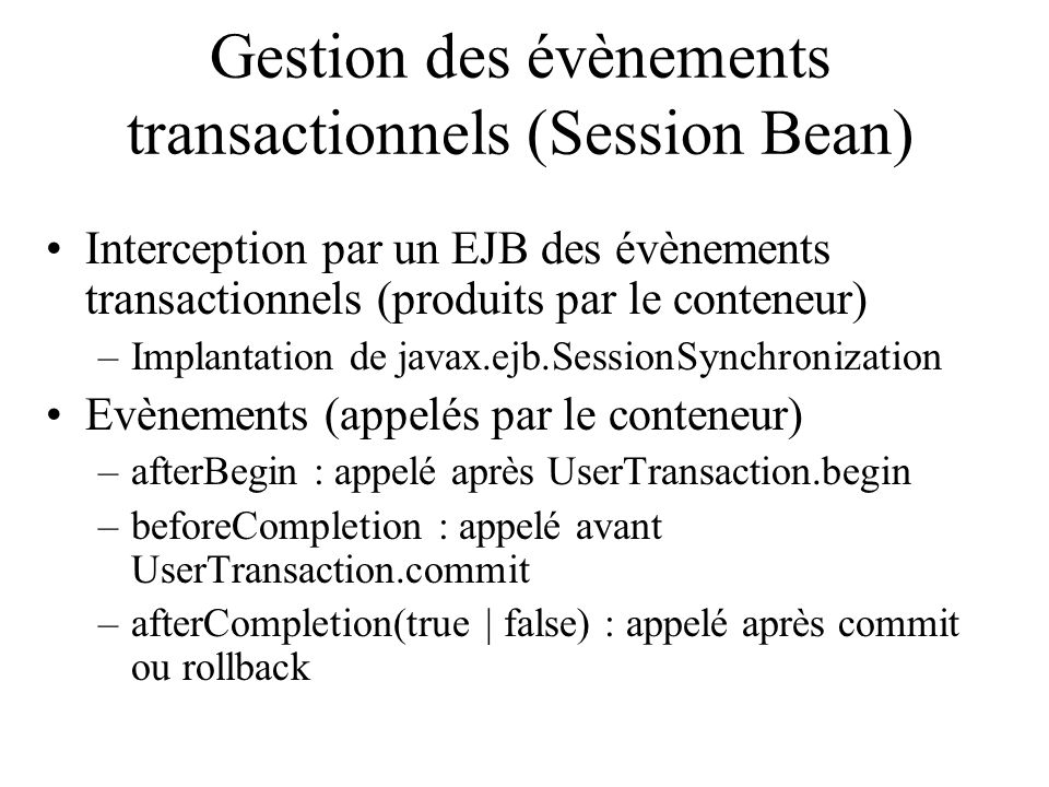 Gestion des évènements transactionnels (Session Bean)