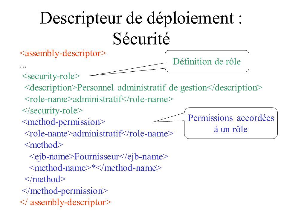 Descripteur de déploiement : Sécurité