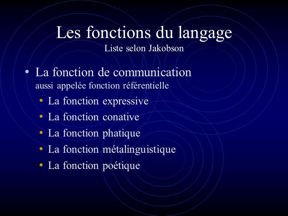 Les fonctions du langage Liste selon Jakobson