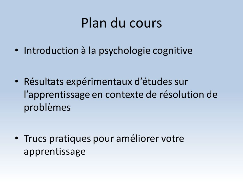 Plan du cours Introduction à la psychologie cognitive