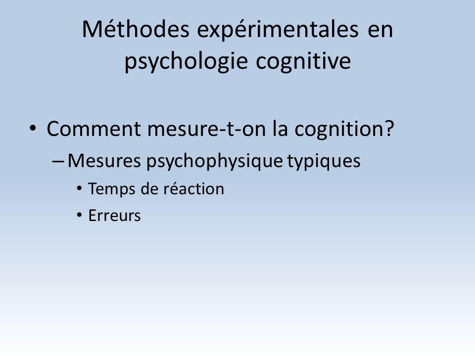 Méthodes expérimentales en psychologie cognitive