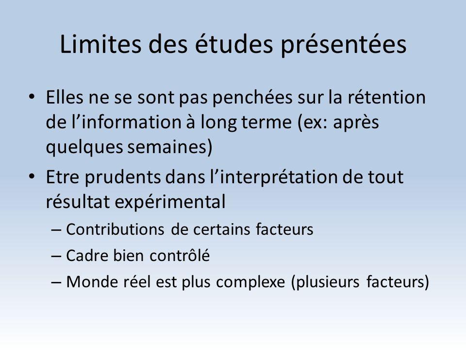Limites des études présentées