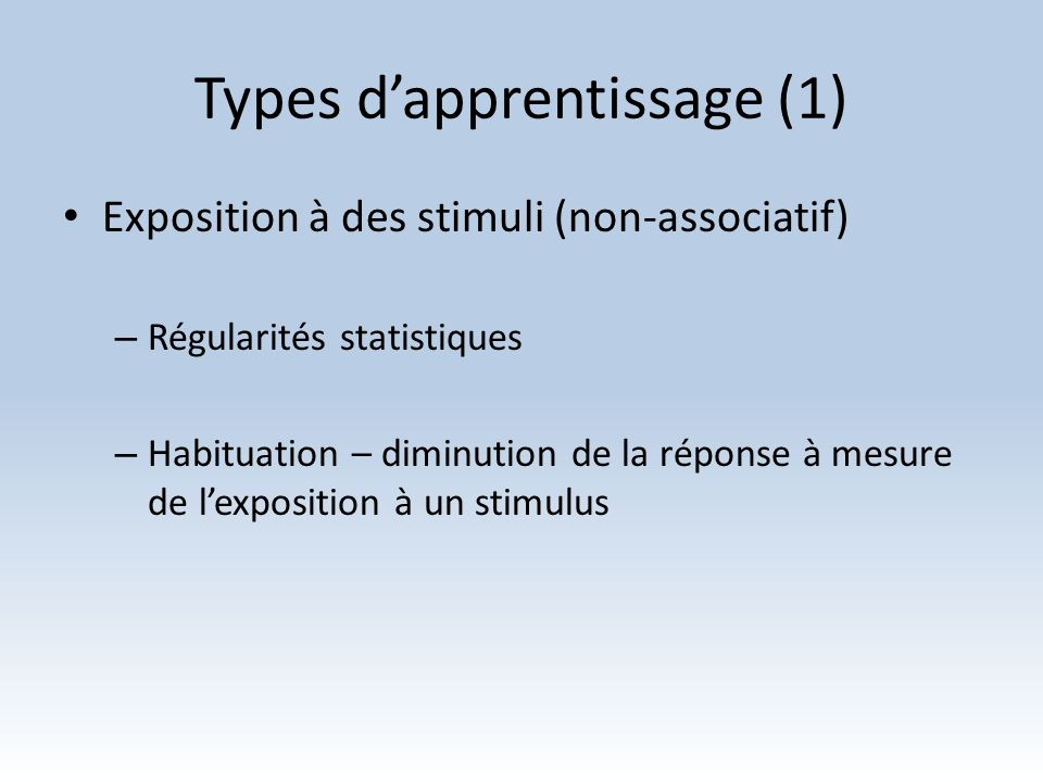 Types d'apprentissage (1)