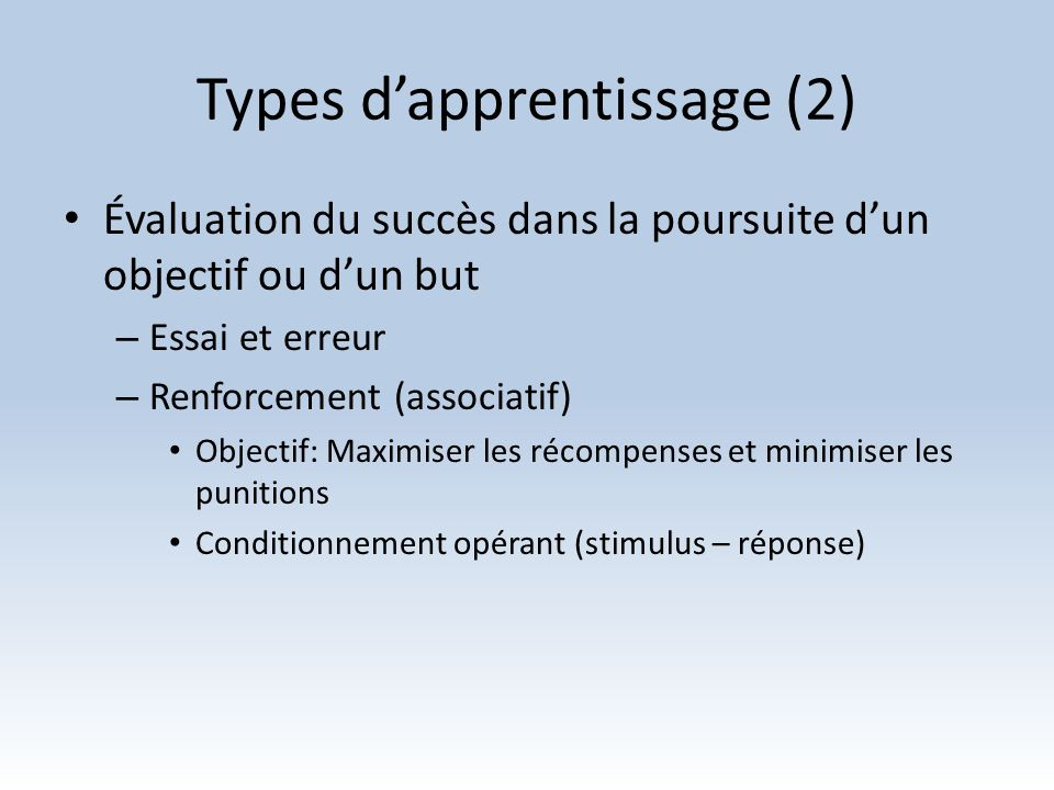 Types d'apprentissage (2)