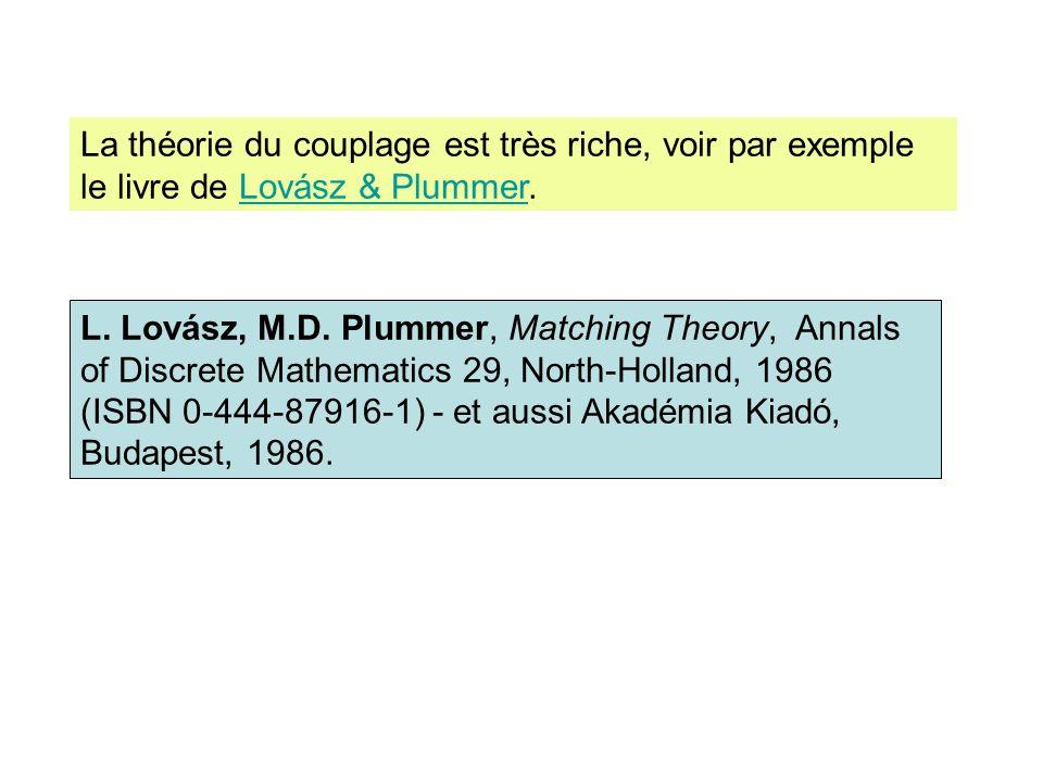 La théorie du couplage est très riche, voir par exemple le livre de Lovász & Plummer.