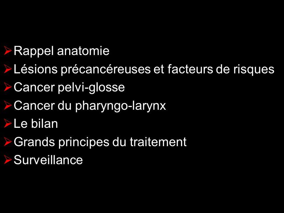 Rappel anatomie Lésions précancéreuses et facteurs de risques. Cancer pelvi-glosse. Cancer du pharyngo-larynx.