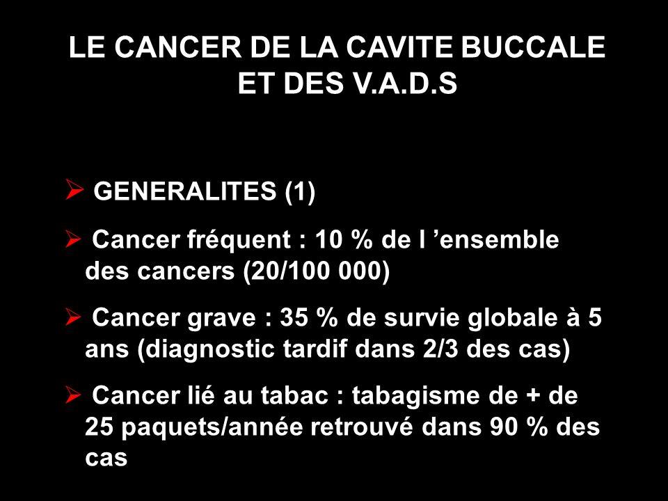 LE CANCER DE LA CAVITE BUCCALE ET DES V.A.D.S