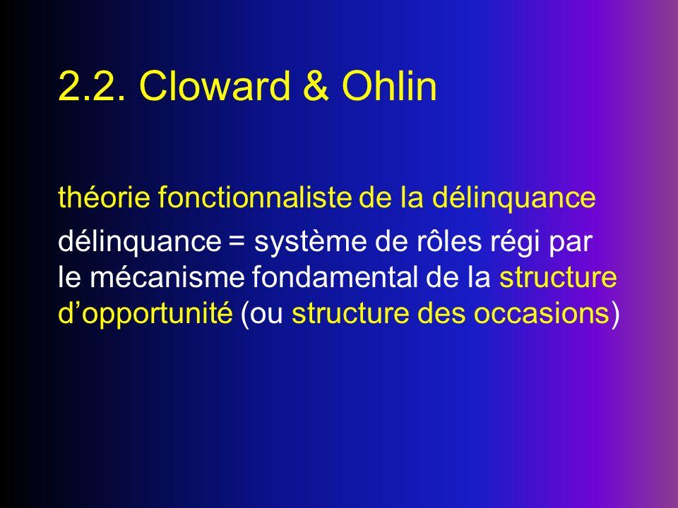 2.2. Cloward & Ohlin théorie fonctionnaliste de la délinquance