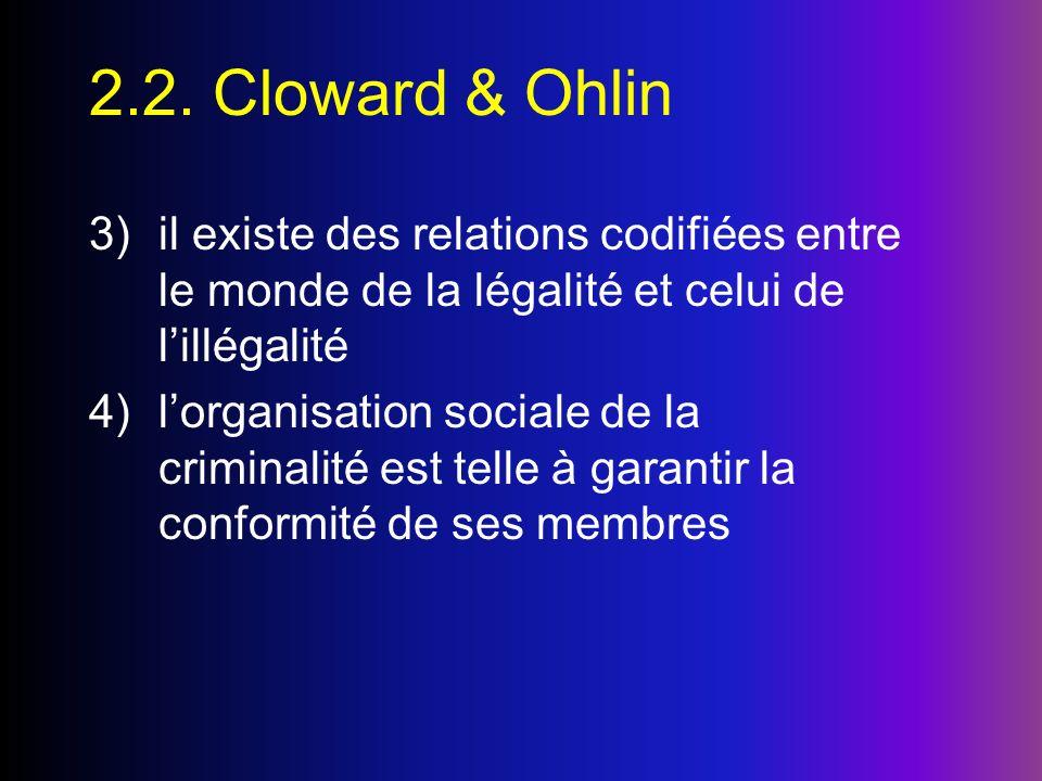 2.2. Cloward & Ohlin il existe des relations codifiées entre le monde de la légalité et celui de l'illégalité.
