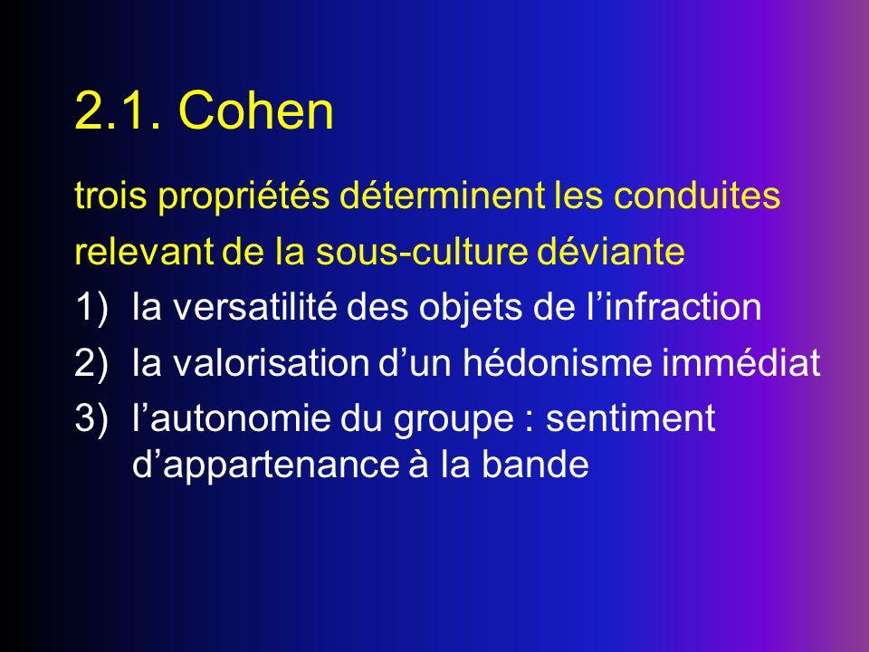 2.1. Cohen trois propriétés déterminent les conduites
