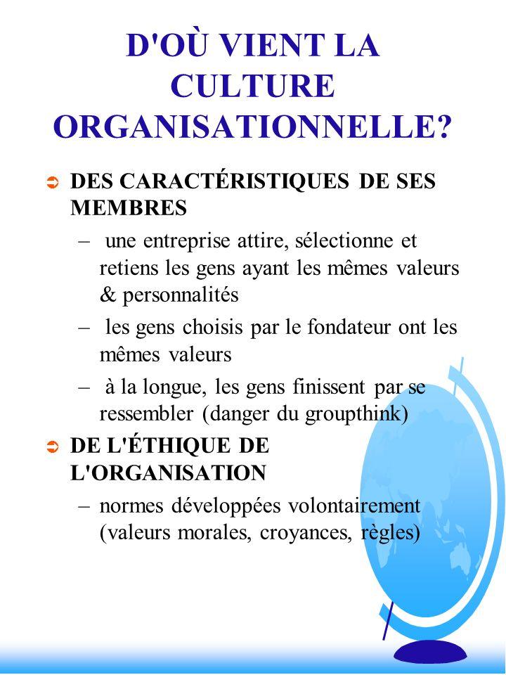 D OÙ VIENT LA CULTURE ORGANISATIONNELLE