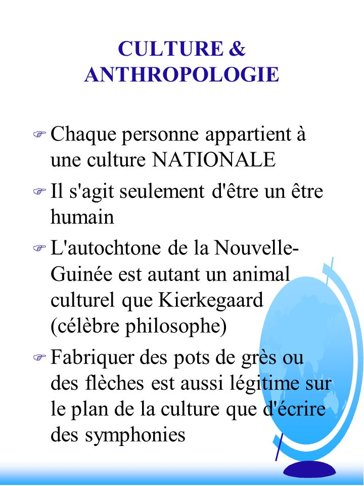 CULTURE & ANTHROPOLOGIE