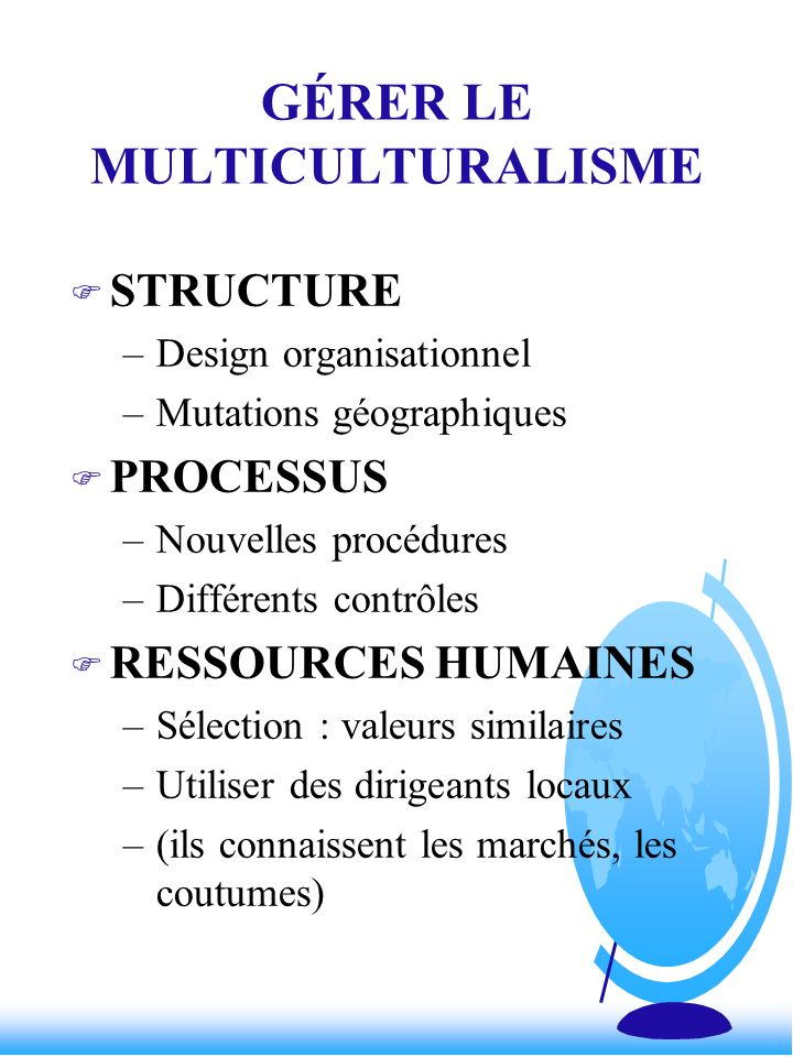 GÉRER LE MULTICULTURALISME