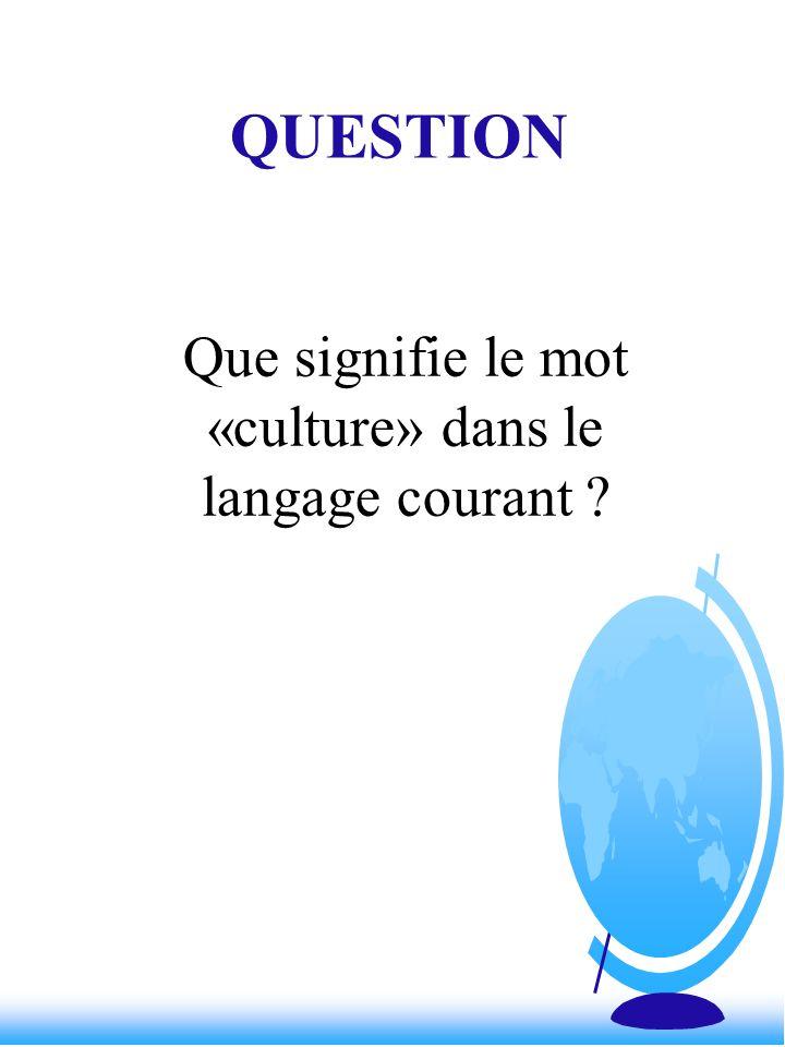 Que signifie le mot «culture» dans le langage courant