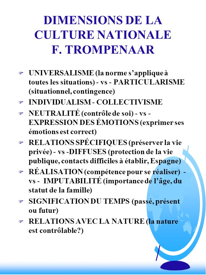 DIMENSIONS DE LA CULTURE NATIONALE F. TROMPENAAR