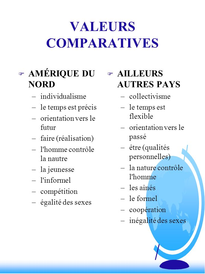 VALEURS COMPARATIVES AMÉRIQUE DU NORD AILLEURS AUTRES PAYS