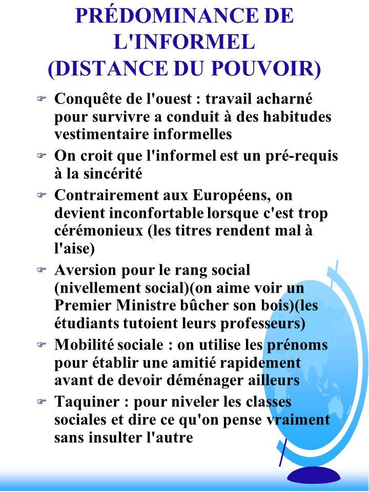 PRÉDOMINANCE DE L INFORMEL (DISTANCE DU POUVOIR)
